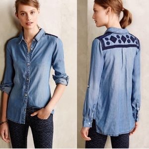 Holding Horses • Dakota Chambray Embroidered Top
